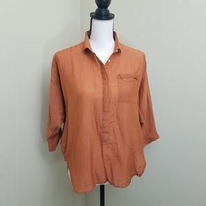 LOFT The Softened Shirt Small Rust Button Down